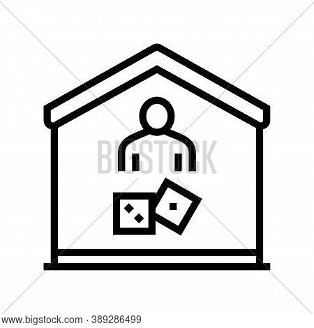Play Game At Home Line Icon Vector. Play Game At Home Sign. Isolated Contour Symbol Black Illustrati