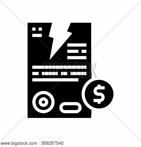 Contract Breaking Glyph Icon Vector. Contract Breaking Sign. Isolated Contour Symbol Black Illustrat