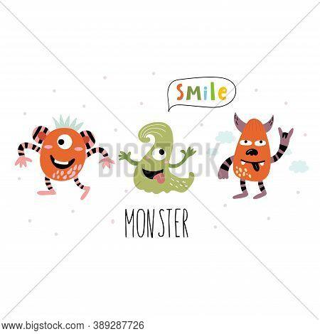 Cartoon Cute Funny Monster Vector Character. Bright Funny Cartoon Card . Lovely Monster For Children