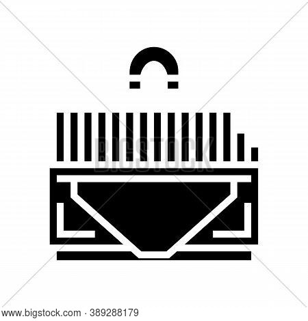 Sorting Metal Garbage Machine Glyph Icon Vector. Sorting Metal Garbage Machine Sign. Isolated Contou