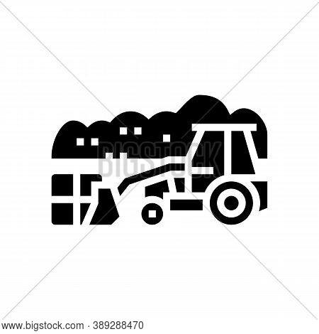 Landfill Tractor Glyph Icon Vector. Landfill Tractor Sign. Isolated Contour Symbol Black Illustratio