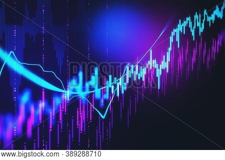 Creative Glowing Forex Chart Wallpaper With Candlestick. Finance And Invest Concept. 3d Rendering