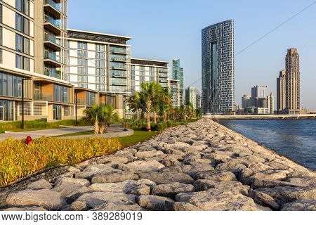 Dubai, Uae, 06/09/20. Promenade And Dubai Cityscape Seen From Bluewaters Island With New The Address