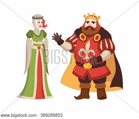 Cartoon King And Queen. Fairy Tales Characters In Crown And Royal Clothes Standing, Isolated Illustr