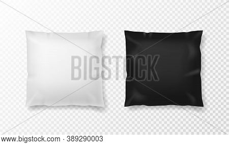 Black And White Pillow. Realistic Comfort Orthopedic Pillows Mockup, Front View Textile Cushion For