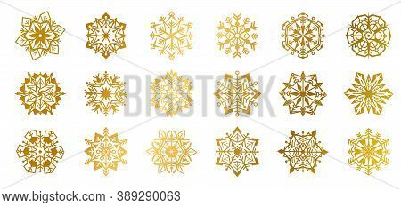 Gold Snowflakes. Golden Shine Christmas Flake For Decoration And Greeting Cards, Glow Elements For W
