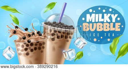 Bubble Tea. Asian Milk Boba Tea Drink With Tapioca Pearls, Plastic Cup With Cool Beverage Milky Bubb