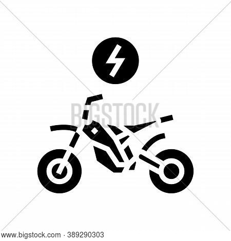 Electrical Bike Glyph Icon Vector. Electrical Bike Sign. Isolated Contour Symbol Black Illustration