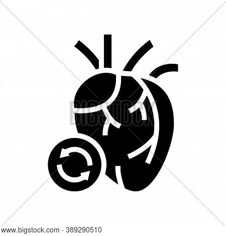Heart Transplant Glyph Icon Vector. Heart Transplant Sign. Isolated Contour Symbol Black Illustratio
