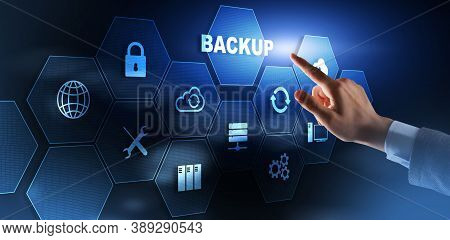 Backup Data Internet Technology Business Concept On Virtual Screen.