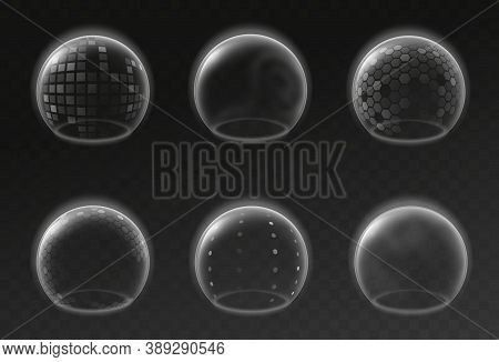 Bubble Shields. Futuristic Transparent Empty Glowing Sphere Template, Safety Energy Barrier Force Fi