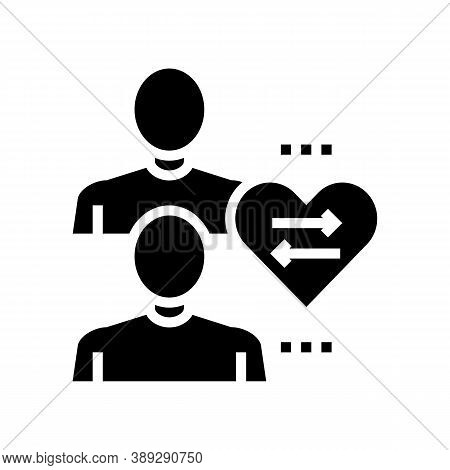 Donor And Disease Patient Glyph Icon Vector. Donor And Disease Patient Sign. Isolated Contour Symbol