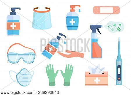 Ppe Icons. Hand Alcohol Sanitizer Bottles, Antiseptic Wipes And Antibacterial Liquid Soap, Med Mask