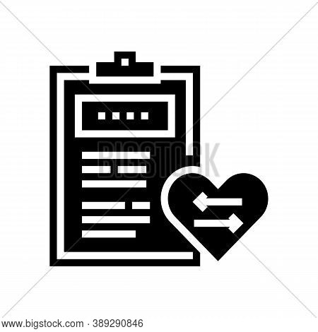 Patient Medical Card For Heart Transplant Glyph Icon Vector. Patient Medical Card For Heart Transpla