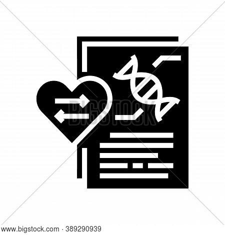 Dna Research For Heart Transplant Glyph Icon Vector. Dna Research For Heart Transplant Sign. Isolate