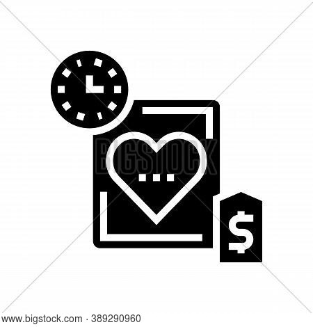 Heart Transplant Price And Time Glyph Icon Vector. Heart Transplant Price And Time Sign. Isolated Co