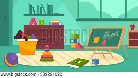 Kindergarten Room. Kids Playroom With Toys, Ball And Books, Blackboard And Furniture Without Childre