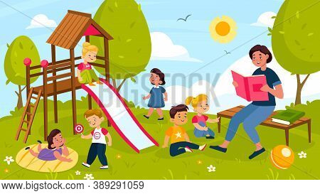 Kids Playing Outdoor. Cheerful Preschool Children And Cute Teacher In Summer Park Playground, Outdoo