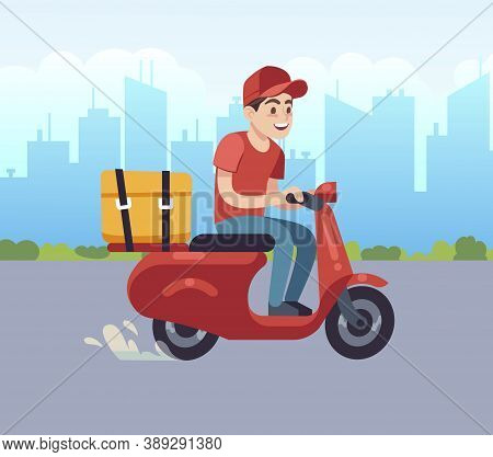 Scooter With Delivery Man. Fast Courier, Motorcycle Driver On Road To Client. Courier On Red Scooter