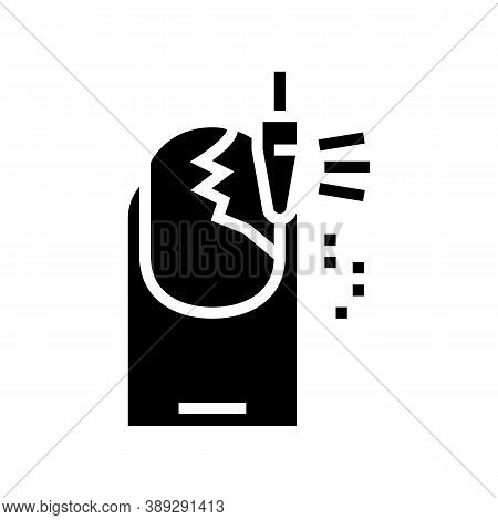 Nail Grinding Glyph Icon Vector. Nail Grinding Sign. Isolated Contour Symbol Black Illustration