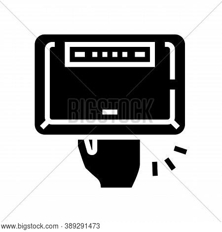 Manicur Ultra Violet Lamp Device Glyph Icon Vector. Manicur Ultra Violet Lamp Device Sign. Isolated