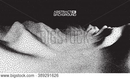 Vector Landscape Of Mountain In Dotwork Style. Stipple Illustration Design. Old Retro Dot Texture Vi