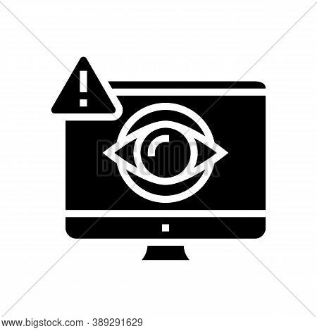 Computer User Spy Glyph Icon Vector. Computer User Spy Sign. Isolated Contour Symbol Black Illustrat