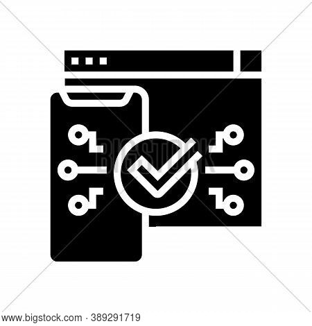 Two Step Authentication Glyph Icon Vector. Two Step Authentication Sign. Isolated Contour Symbol Bla