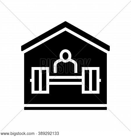 Sport Exercise At Home Glyph Icon Vector. Sport Exercise At Home Sign. Isolated Contour Symbol Black