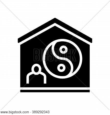 Yoga At Home Glyph Icon Vector. Yoga At Home Sign. Isolated Contour Symbol Black Illustration
