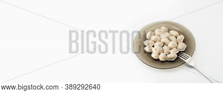 Isolated Traditional Russian Pelmeni, Ravioli, Dumplings With Meat On White Background. Design And F