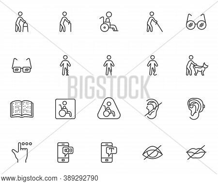 Disability Line Icons Set. Linear Style Symbols Collection, Outline Signs Pack. Vector Graphics. Set