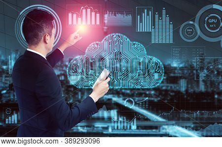 Cloud Computing Technology And Online Data Storage For Global Data Sharing. Computer Connects To Int
