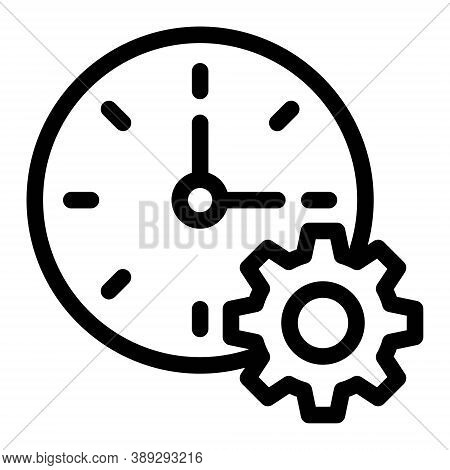 Clock And Gear Symbol. Time Preferences Setup Icon In Line Style. Time Concept For Perfect Mobile An