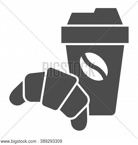 Croissant And Cup Of Coffee Solid Icon, Breakfast Concept, Coffee Break Time With Croissant Sign On