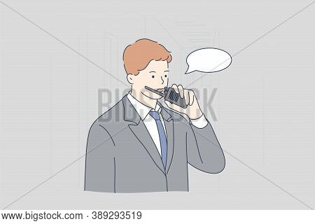 Security, Work, Concept. Young Man Or Guy Safeguard Cartoon Character Using Walkie Talkie Communicat