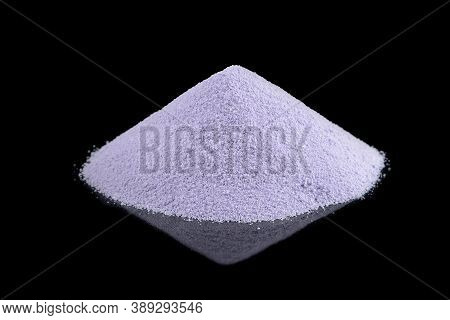 Dried Soy Milk Isolated On Black Background, Soy Milk Powder With Reflection