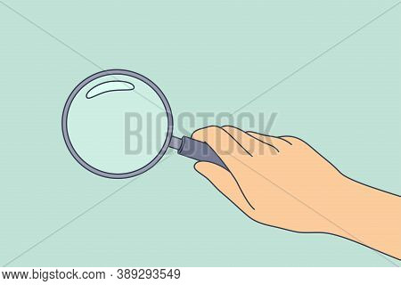 Research. Science, Analysis, Business, Optics Concept. Businessman Scientist Detective Cartoon Hand