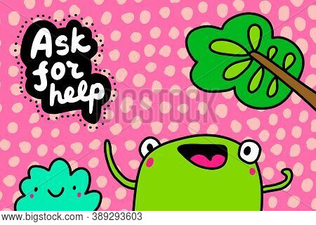 Ask For Help Hand Drawn Vector Illustration In Cartoon Comic Style Forg Excited Expressive
