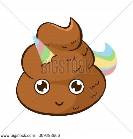 Vector Cute Unicorn Poop Emoji. Funny Poo Smile With Rainbow Horn And Tale.