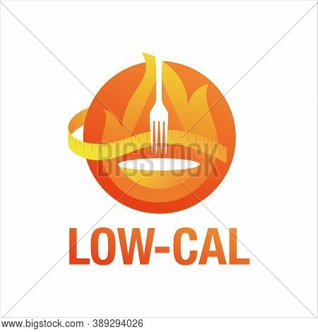 Low Cal Icon - Emblem For Packaging Of Low Calories Diet Food Products - Circular Stamp With Weight