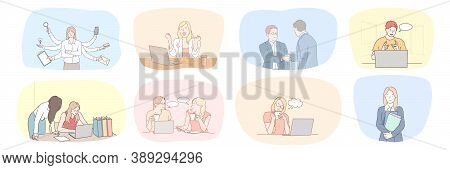 Success, Business, Meeting, Partnership, Greeting, Multitasking, Communication, Teamwork Set Concept