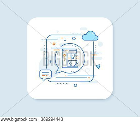 Coffee Maker Line Icon. Abstract Square Vector Button. Tea Machine Sign. Hotel Service Symbol. Coffe