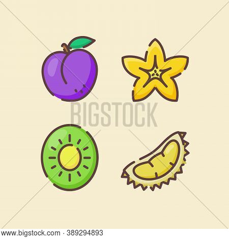 Fruit Icon Set Collection Plum Starfruit Kiwi Durian White Isolated Background With Color Flat Outli