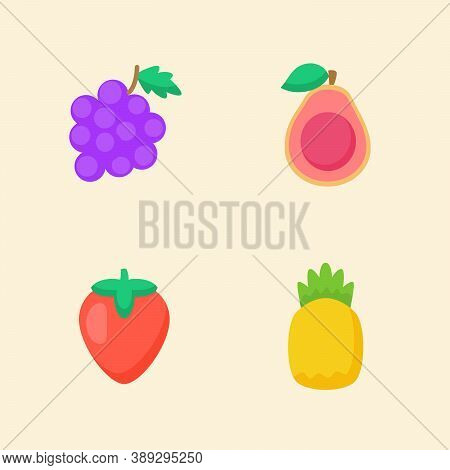 Fruit Icon Set Collection Grape Guava Strawberry Pineapple White Isolated Background With Color Flat