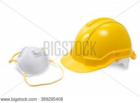 Construction Hard Hat - Safety Helmet And N95 Mask Used In Workplace Environments Such As Industrial