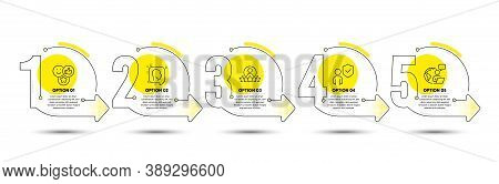Security, Head And Like Line Icons Set. Timeline Process Infograph. Human Rating Sign. Body Guard, P