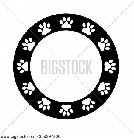 Paw Frame On White Background. Flat Style. Dog Paw Print Border. Black Animal Paw Prints Round Frame