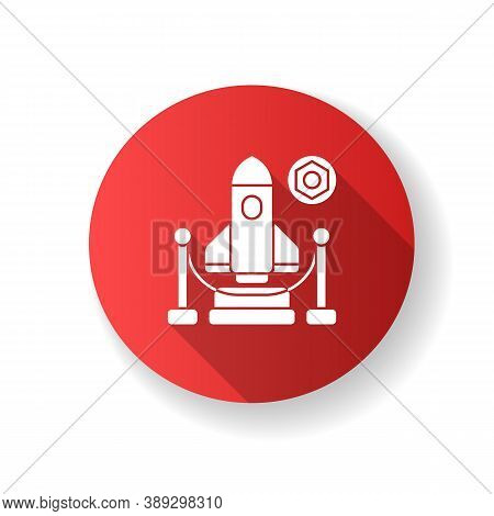 Expo Red Flat Design Long Shadow Glyph Icon. Trade Fair, Exhibition. Business Event Showcasing Newes