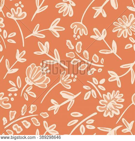 Rich Monochrome Flowerbed Seamless Vector Pattern. Line Drawing Of Flowers And Leaves Scattered To F